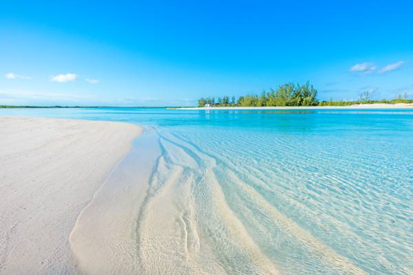 Sandy Point Beach on the island of North Caicos in the Turks and Caicos Islands