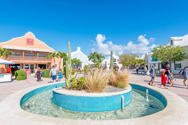 fountain at the plaza at the Grand Turk Cruise Center in the Turks and Caicos