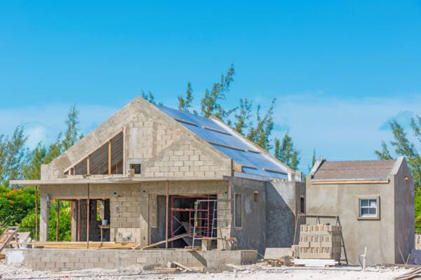 home under construction in the Turks and Caicos