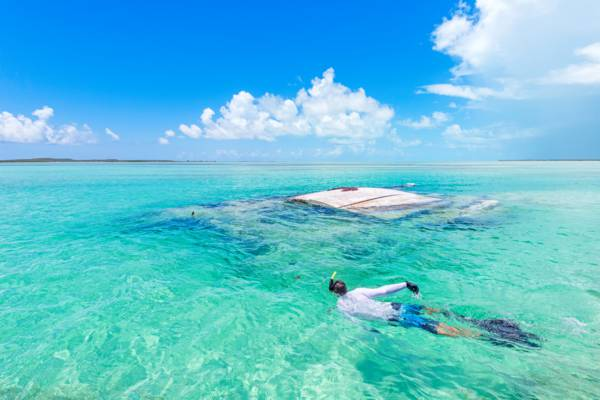 snorkelling at a sailboat wreck in the Turks and Caicos