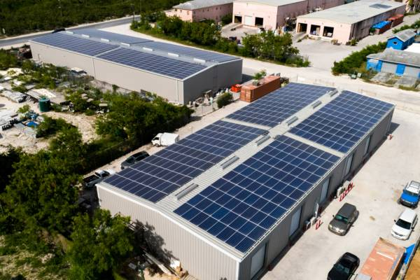 solar panels on a warehouse roof in the Turks and Caicos