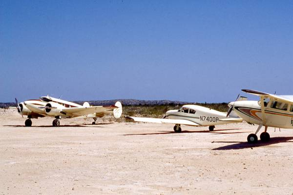 old photo of aircraft at the South Caicos airport