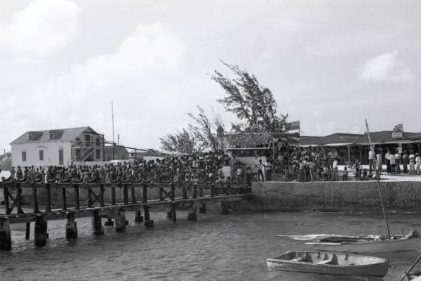the pier and crowds at Conch Ground at South Caicos during the South Caicos Regatta in 1968
