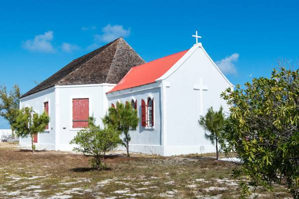 the oceanfront St. John's Church on Salt Cay in the Turks and Caicos