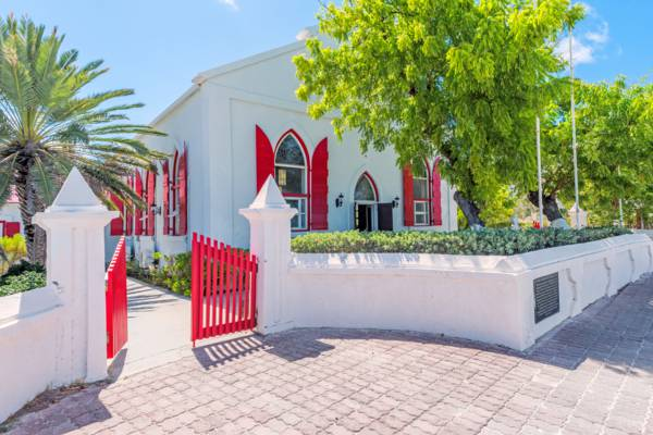 the courtyard at the beachfront St. Mary's Church in Cockburn Town on Grand Turk