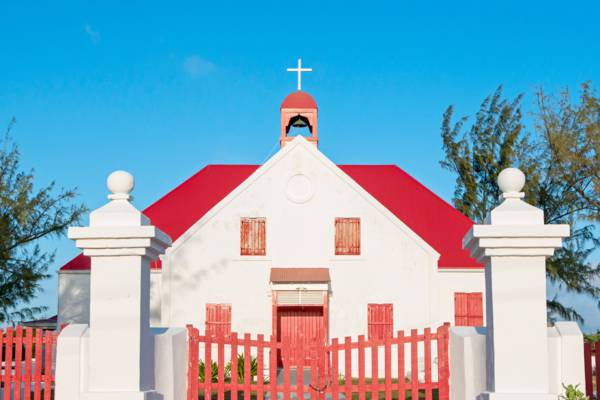 the front gates of the St. Thomas's Church at Town Salina on Grand Turk