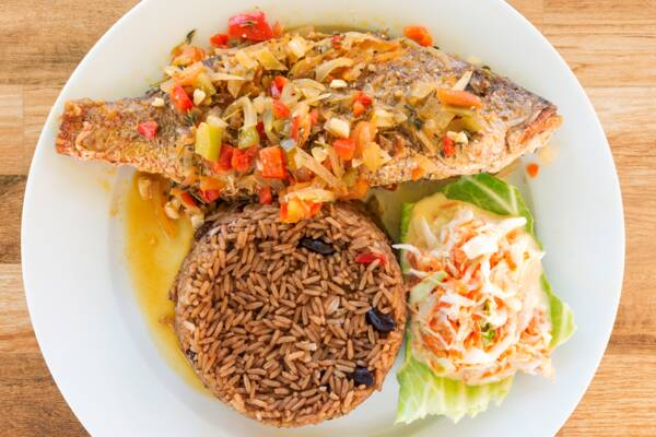Turks and Caicos steamed fish, coleslaw, and peas n' rice