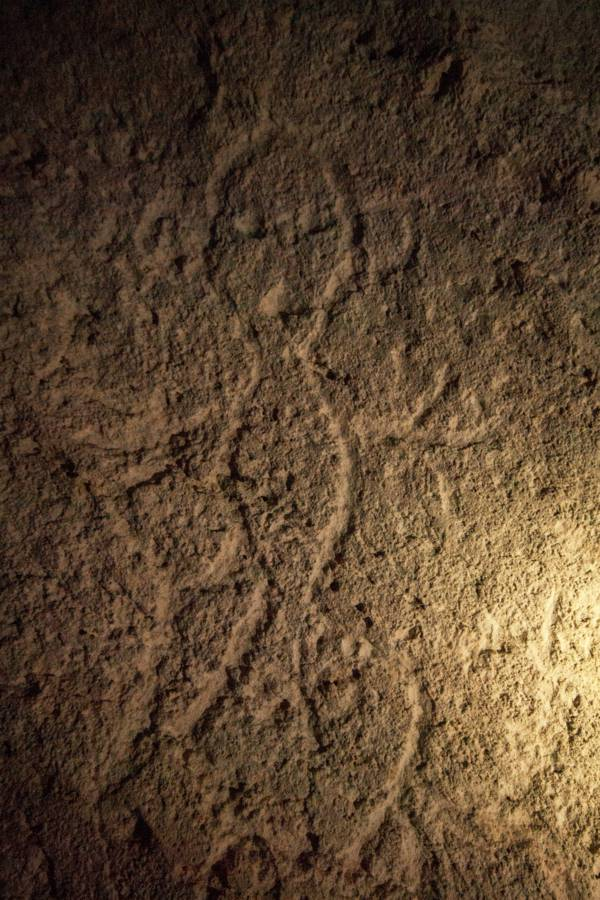Taino pictograph in a cave in the Turks and Caicos