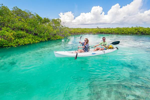 tandem kayak in the channels at Mangrove Cay