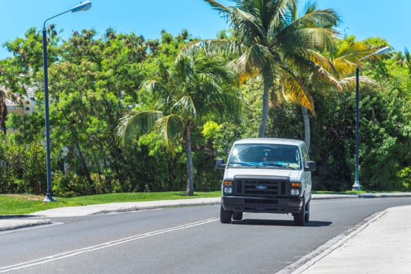 a taxi on Grace Bay Road in the Turks and Caicos