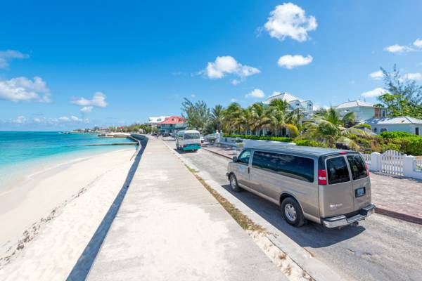 a taxi van in the beachfront Cockburn Town on Grand Turk