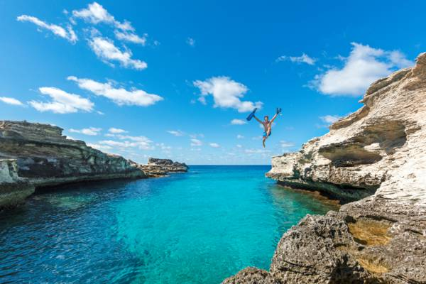 jumping off the cliffs of the West Caicos Marine National Park