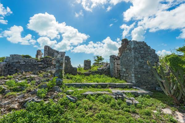 the ruins of the Great House at the Cheshire Hall Plantation in the Turks and Caicos