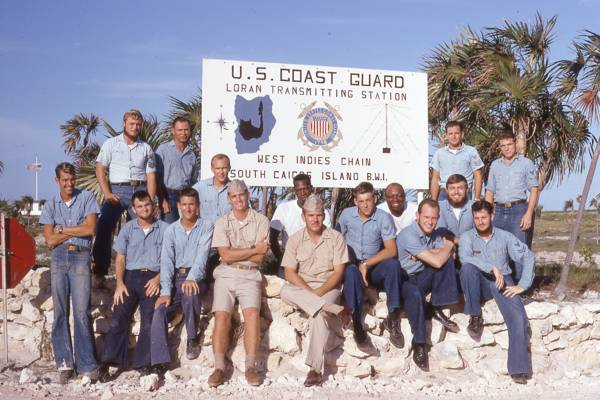 vintage photo of the crew of the U.S. Coast Guard South Caicos LORAN base in 1968