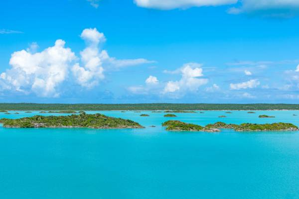 tiny islands and turquoise water at Chalk Sound National Park in the Turks and Caicos