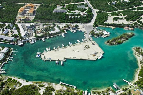 aerial view of Turtle Cove Marina in the Turks and Caicos