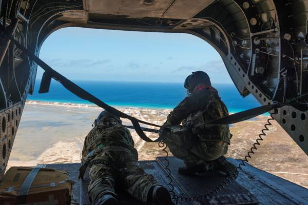 view over Turks and Caicos from United Kingdom Royal Air Force Chinook helicopter