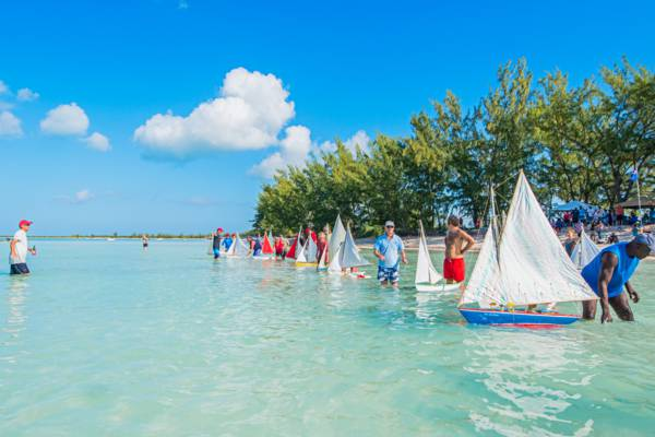 the start of a model sailboat race at Bambarra Beach in the Turks and Caicos