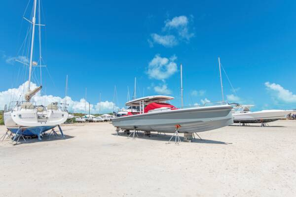 boat storage yard in the Turks and Caicos
