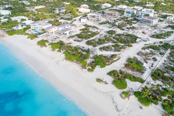 luxury homes on the beach under construction at Leeward on Providenciales