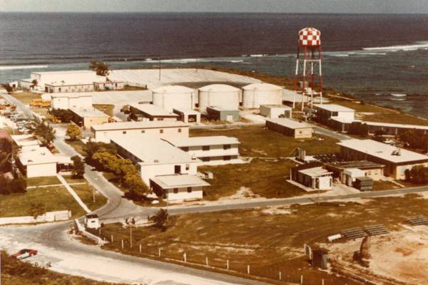 vintage aerial photo of the U.S. Navy NAVFAC 104 base on Grand Turk in the Turks and Caicos