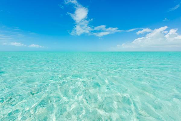the brilliant turquoise ocean water in the Caicos Banks off of Middle Caicos