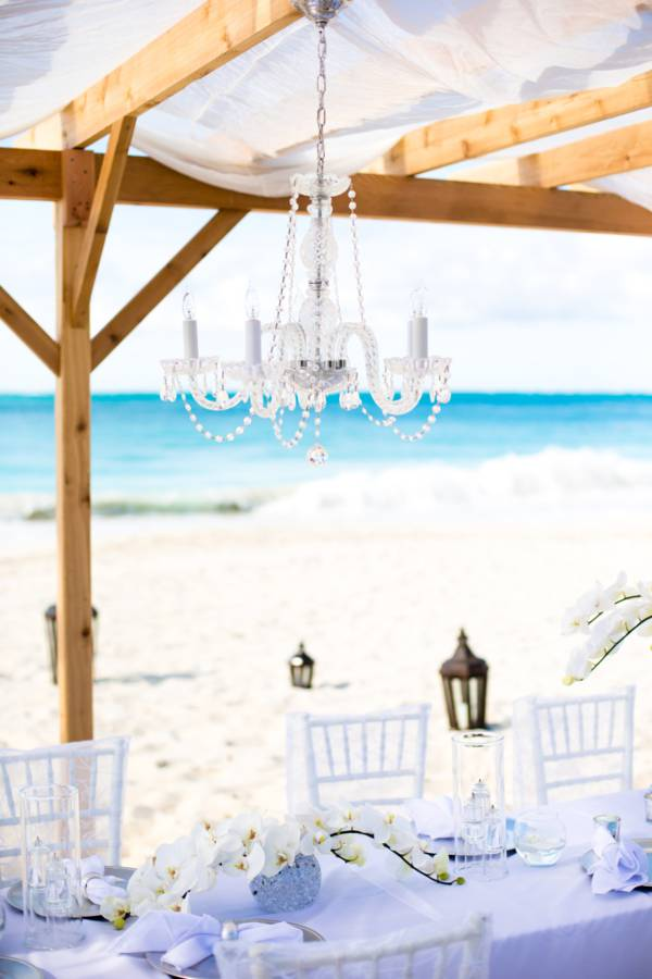 wedding decor on Grace Bay Beach in the Turks and Caicos