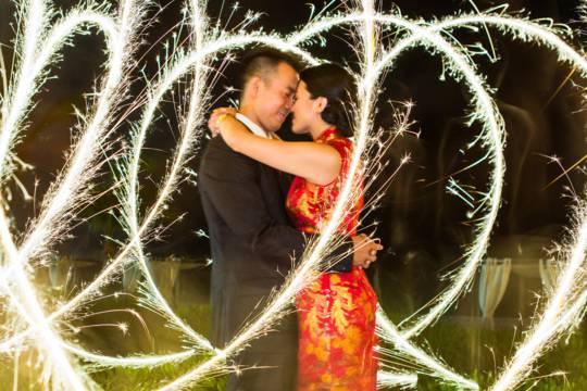 creative wedding photo on Grace Bay Beach