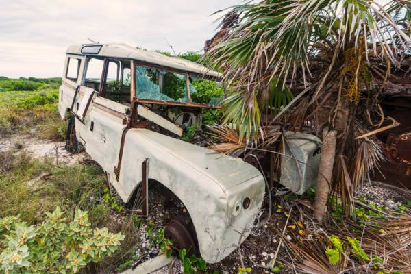 abandoned Land Rover Series II Station Wagon on West Caicos