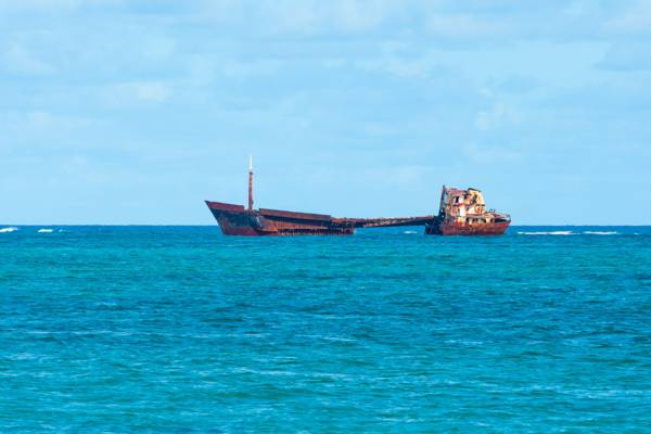 the River Arc freighter shipwreck on the barrier reef off of Whitby on North Caicos