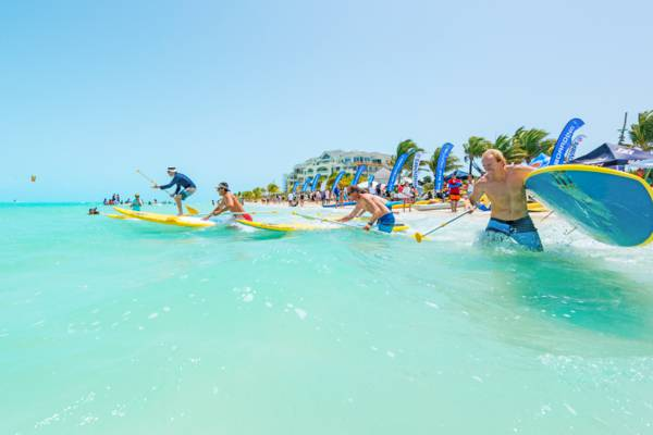 the start of a stand up paddle boarding race in the Turks and Caicos