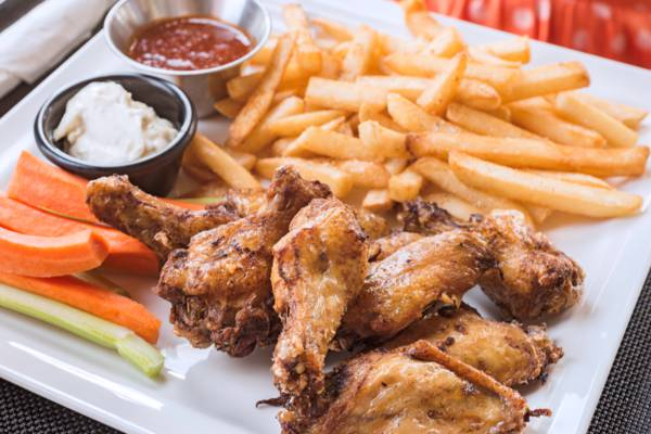 wings and fries at Fairways Restaurant