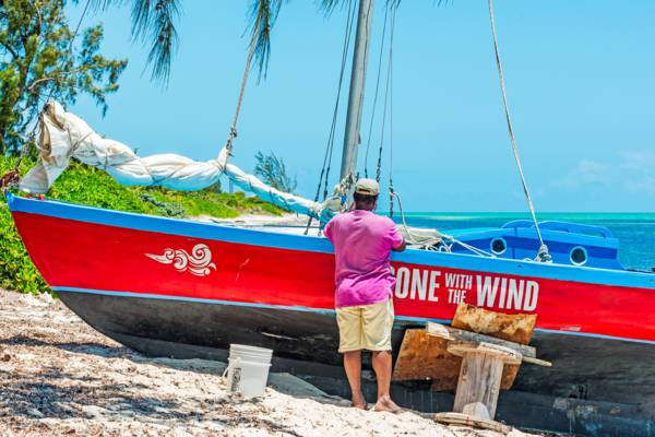 a classic Caicos Sloop under construction in Blue Hills in the Turks and Caicos