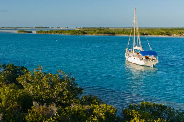 small cruising yacht moored in Leeward Channel in the Turks and Caicos
