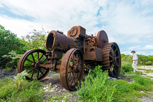 the Victorian-era Burrell steam traction engine at Yankee Town in the Turks and Caicos