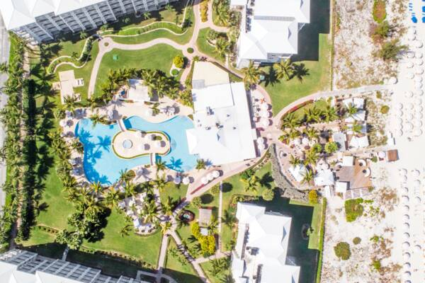 aerial view of the Alexandra Resort in the Turks and Caicos