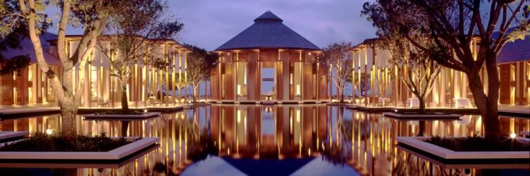 shallow decorative pool and landscaping at Amanyara Resort
