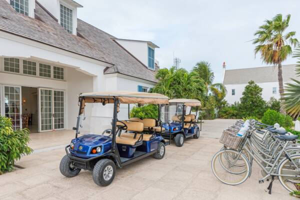golf carts and bicycles at Ambergris Cay