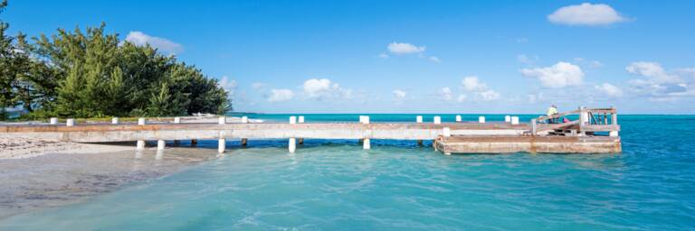small wood pier on the beach at Bambarra on Middle Caicos