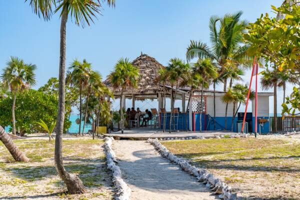 beachfront cabana at Barracuda Beach Bar on North Caicos