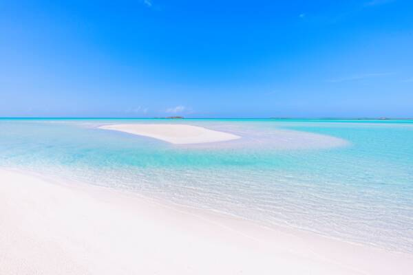 secluded beach and sand bar in the Turks and Caicos