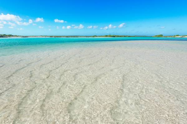 channel and sand bar at Bottle Creek, Turks and Caicos