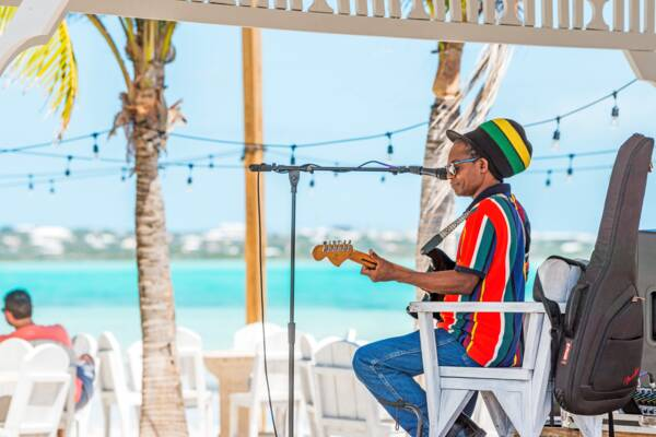 Turks and Caicos musician Stanley Roots at Bugaloo's Restaurant on Five Cays Beach