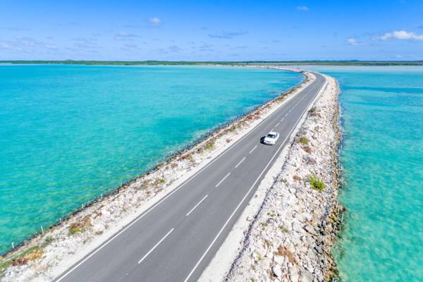 aerial view of car on the North Caicos and Middle Caicos Causeway