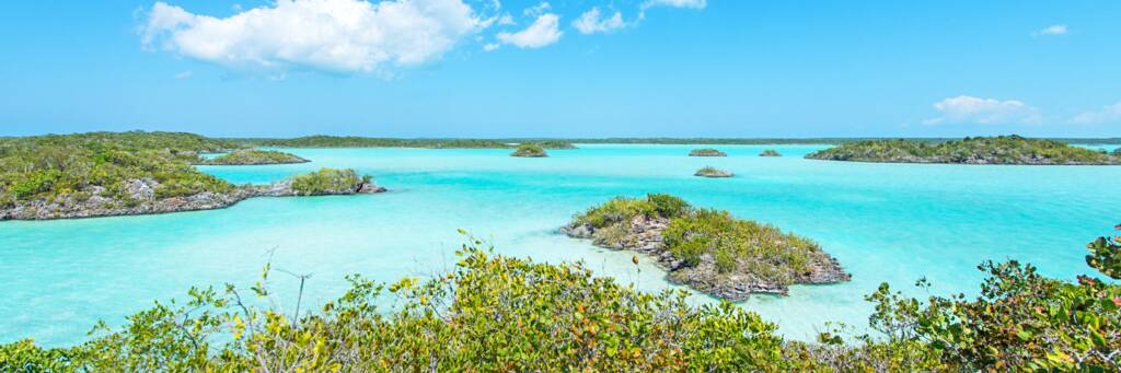turquoise water and small islands in Chalk Sound