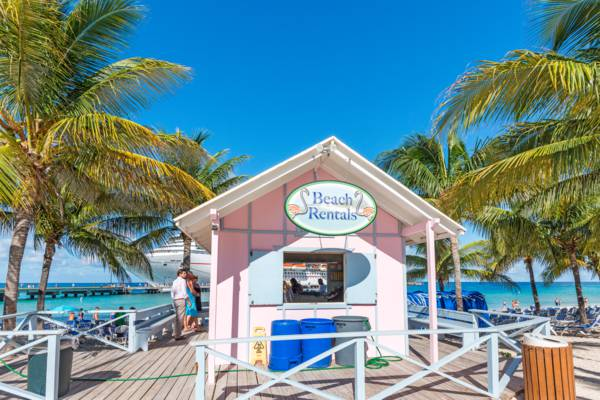the beach rentals shack at the Cruise Center Beach on Grand Turk
