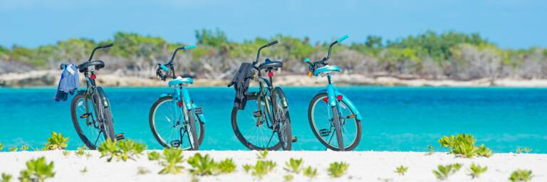 bicycles at Leeward Beach on Providenciales