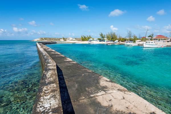 the breakwater at Deane's Dock on Salt Cay