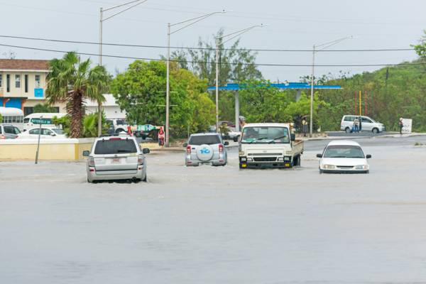 flooding in the roads of Downtown Providenciales