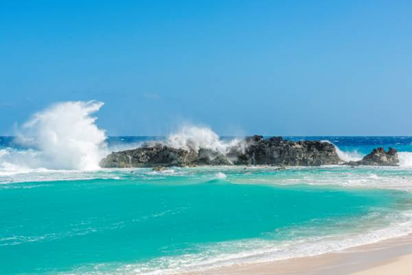 large wave breaking at Dragon Cay, Turks and Caicos